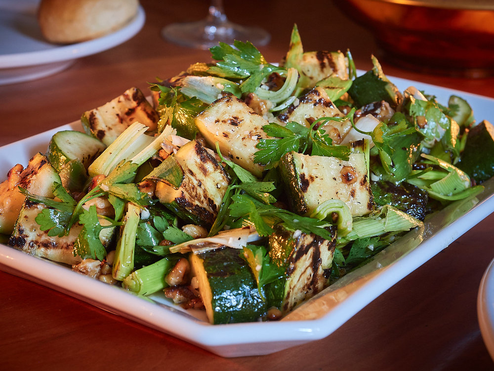 Grilled Zucchini and Leeks with Walnuts and Herbs