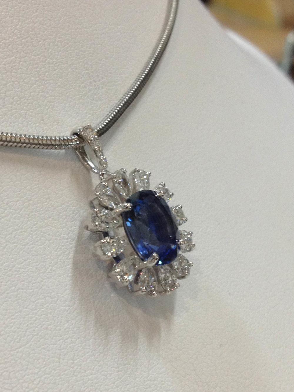 Copy of Sapphire and Diamond Pendant