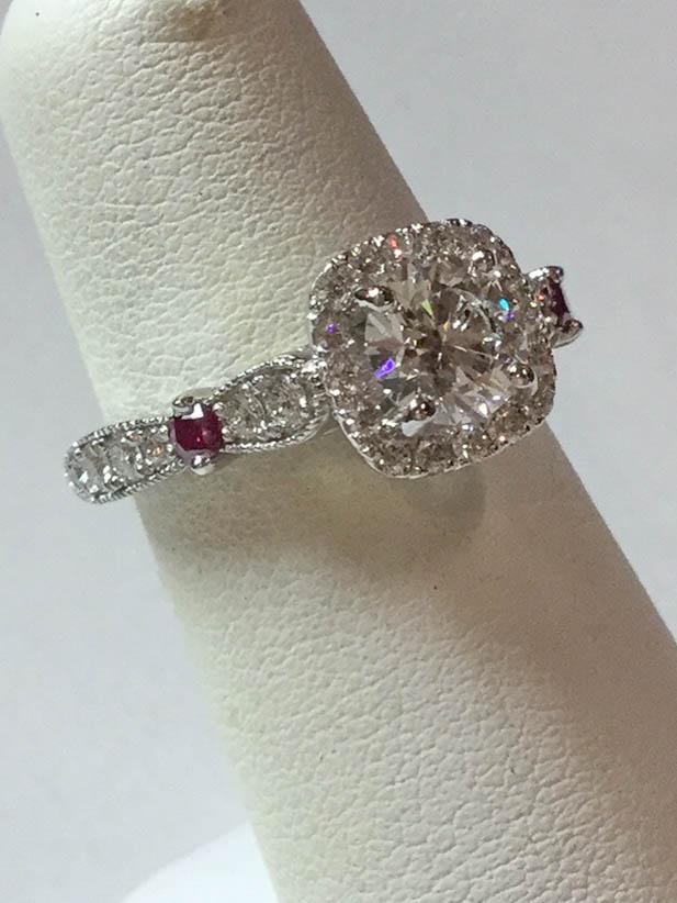 Copy of Diamond and Purple Diamond Engagement Ring
