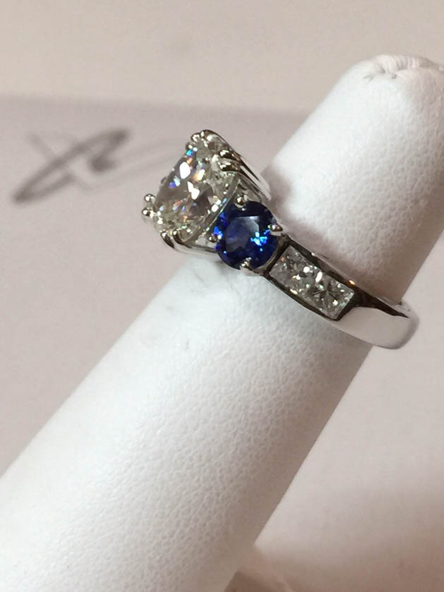 Copy of Diamond and Sapphire Engagement Ring