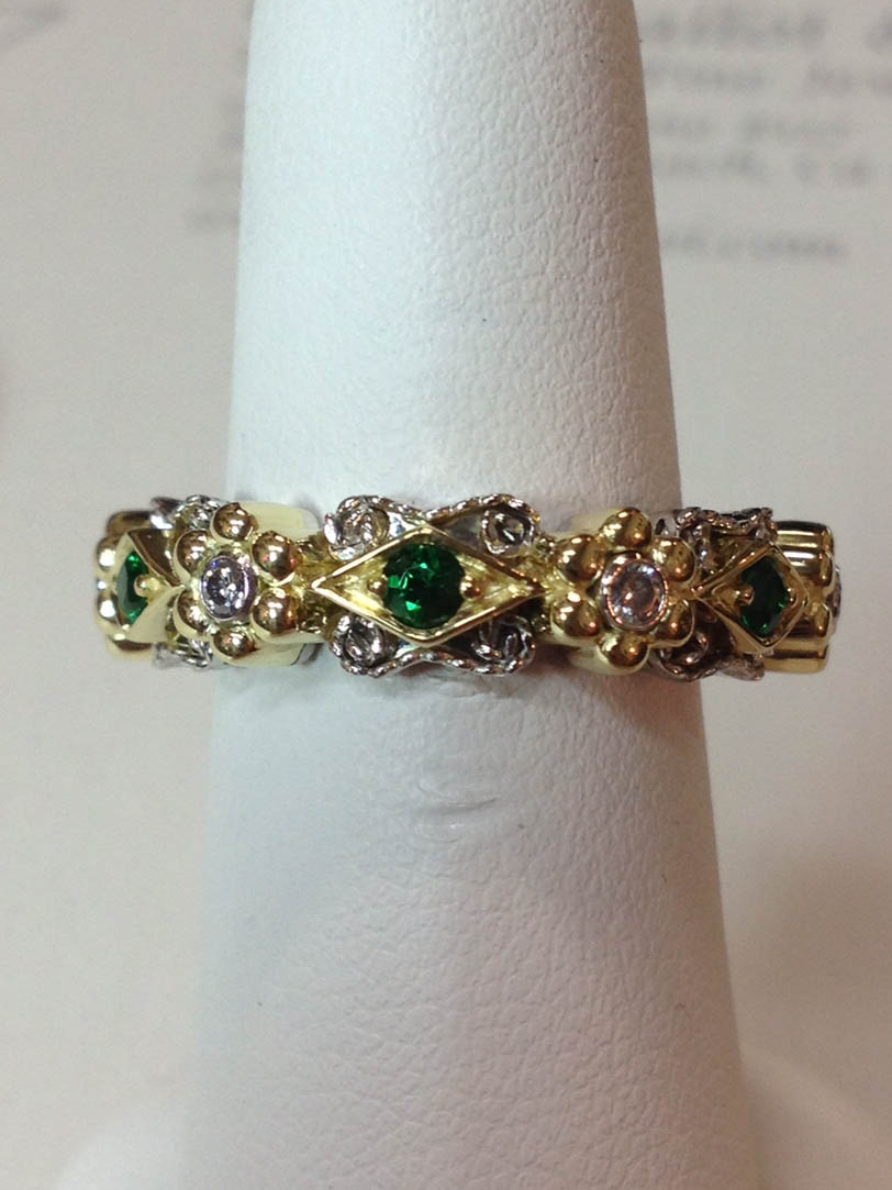 Copy of Diamond and Emerald Wedding Band