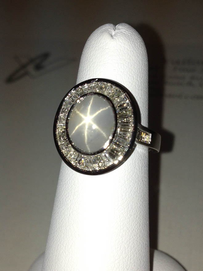 Copy of Gray Star Sapphire and Diamond Ring