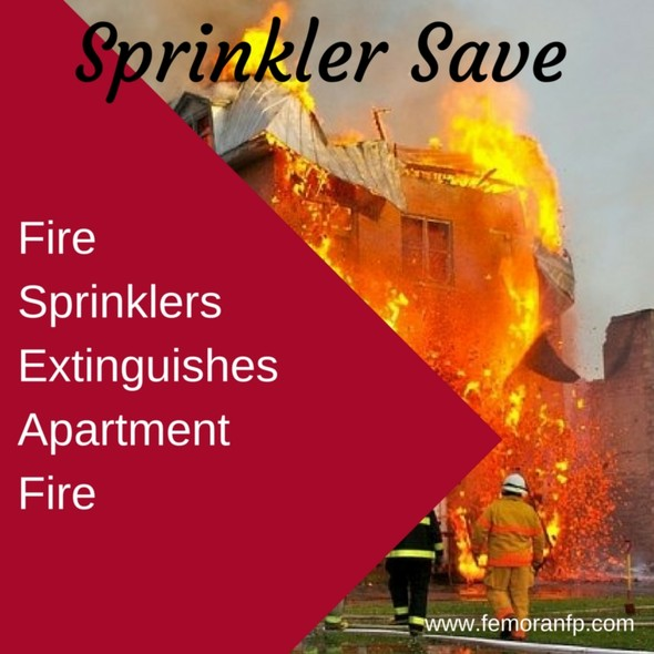 Fire Sprinkler Saves Apartment from Fire