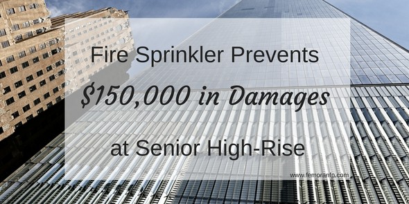 fire sprinkler save at Evanston, IL senior living high-rise
