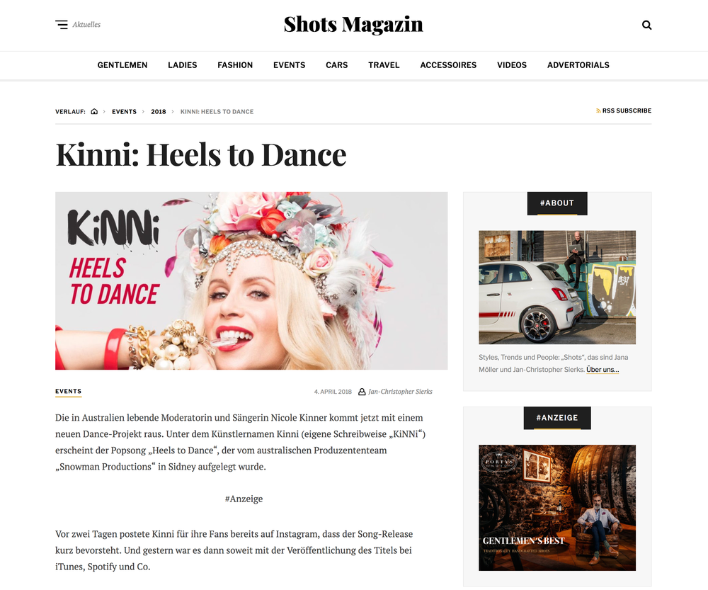 SHOTS MAGAZINE Article about 'Heels to Dance' release