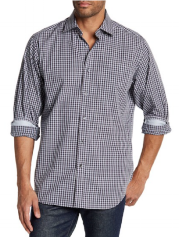 Bugatchi Classic Fit Plaid And Speckle Dot Collar Dress Shirt (Nordstrom Rack)