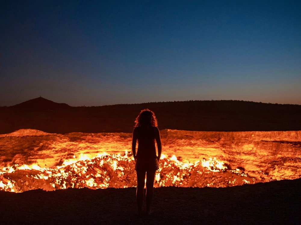 "Flaming gas crater known as the ""Door to Hell"" In Darvaza, Turkmenistan"