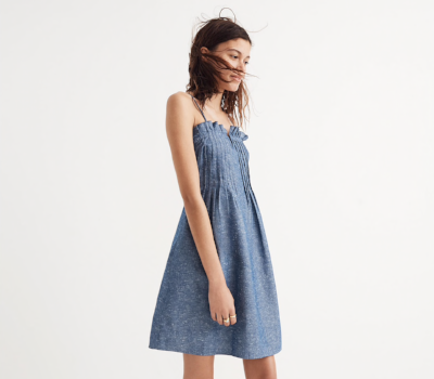 Madewell Denim Pintuck Cami Dress