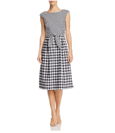 Bloomindales Adrianna Papell Mixed Gingham Dress
