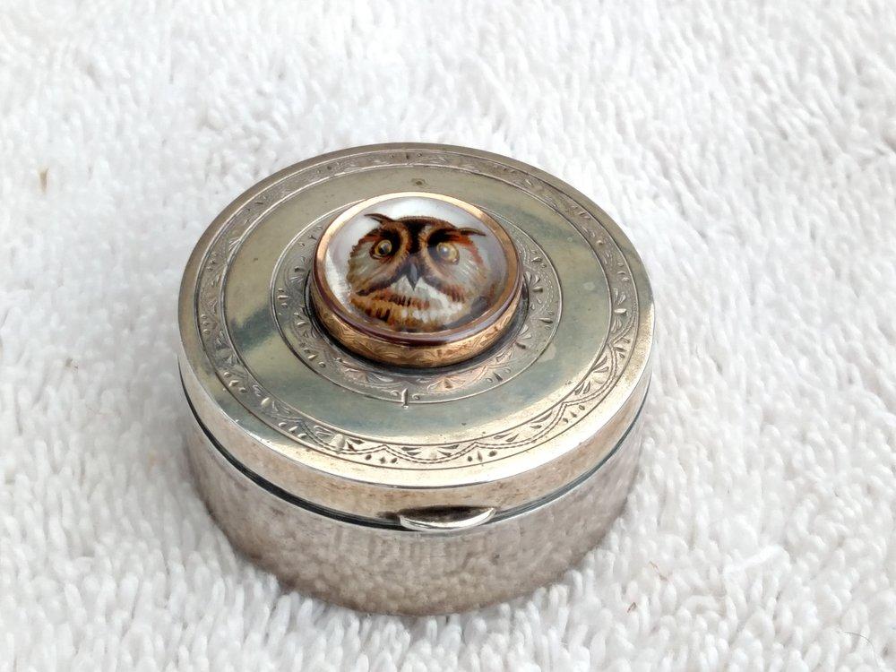 Owll Crystal & Sterling Silver Pillbox