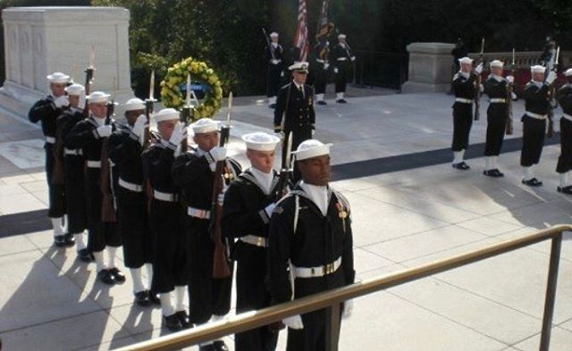 #memorialday honors. I'm second in line; all Navy wreath laying Tomb of The Unknown, Arlington National Cemetery Circa 2009. - It is hard to explain the process I have gone through after spending over two years preforming military funerals, military honors and ceremonies. Working in Arlington National Cemetery changed me as person, I also do not believe I'm done shaping these experiences into who I am. Thousands have gone before us and lost their lives overseas or here on the home front. Today we honor them. I'm proud to have served in such a role.