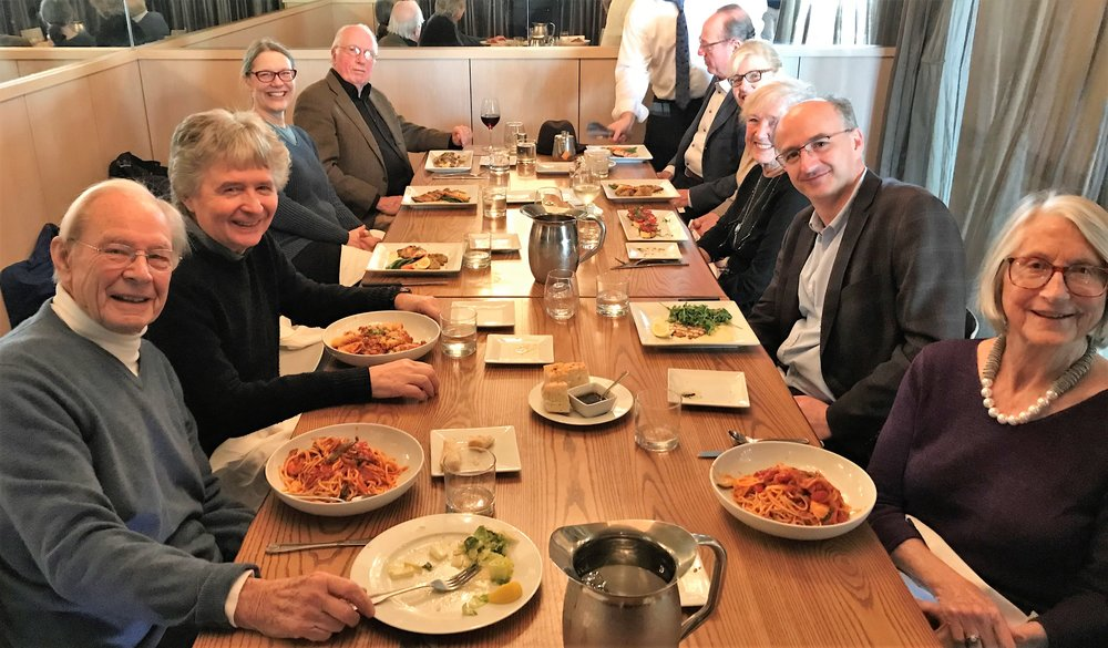 Sharing a meal with members of the Takacs Quartet prior to a performance of the piece in Seattle in Jan 2018.