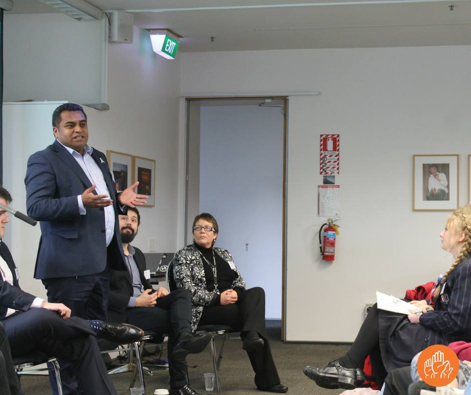 MP for the Mana electorate, Kris Faafoi (standing) joins MP's (from left) Chris Bishop, Gareth Hughes and Tracey Martin in a discussion about civic education, the state of our democracy, how we can improve our system to enhance engagement with society, and representation in the House of Representatives.