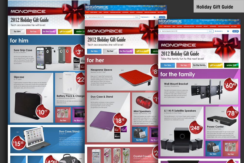 Project   Yearly Online Gift Guide.   Media Assets   Micro Site Landing Page Web banners Email product photography