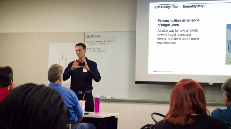 Brenton giving an IxDA talk on using empathy in design.