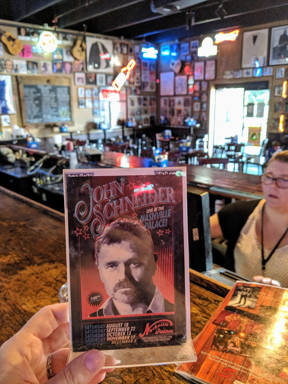After checking out Cooter's Place, we went next door to the Nashville Palace for lunch. Bo Duke totes followed me there.