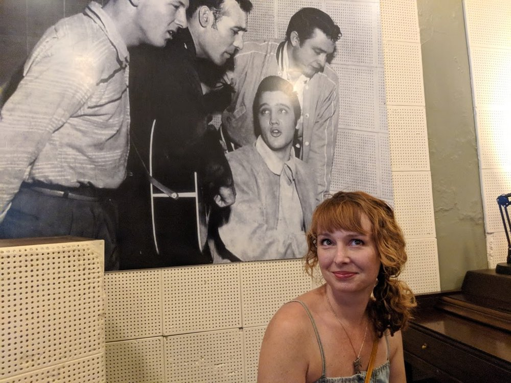 I recently visited Sun Studios in Memphis, which is the whole reason I became fixated on the Million Dollar Quartet. In this photo, I'm sitting in the same spot where the original photo was taken. Suffice to say, it's way fun to visit the places where magic was made.