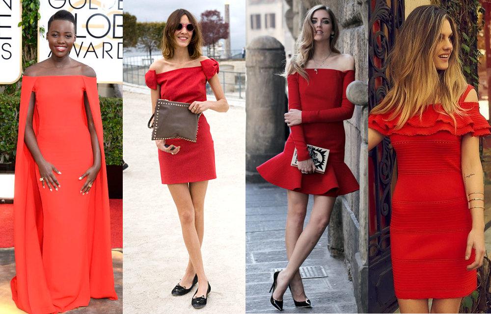 Nestas fotos, a tendência do vermelho aparece ao lado do ombro-a-ombro. Inspire-se!