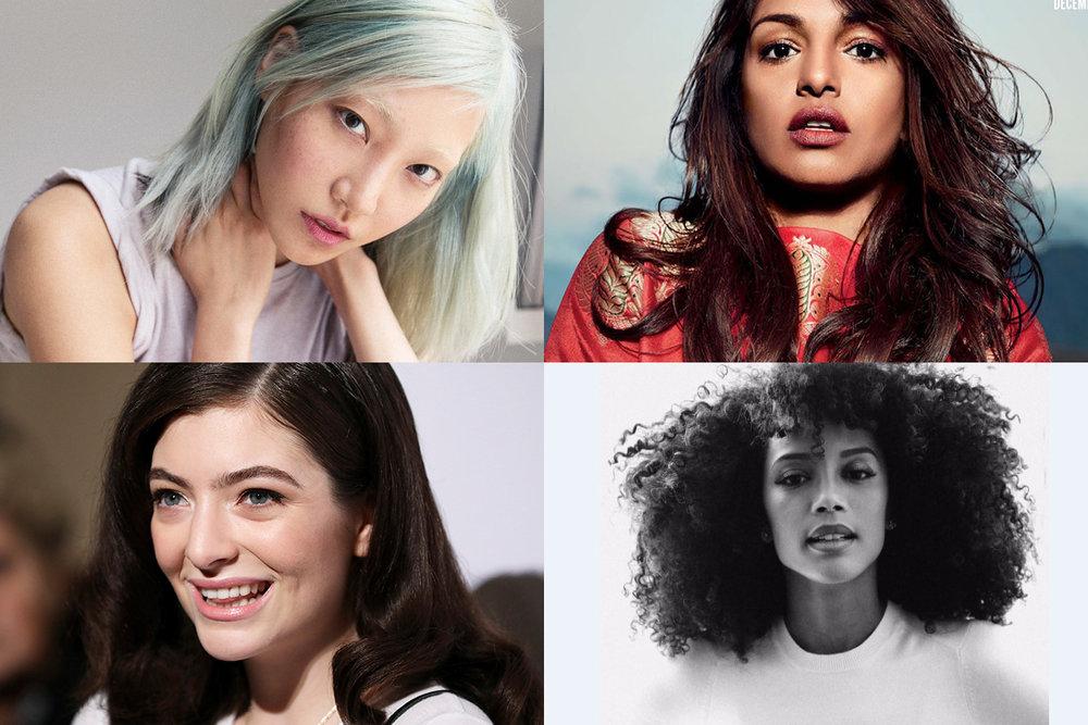 A coreana Soo Joo, a britânica-indiana MIA, a neozelandês Lorde e a brasileiríssima Taís Araújo: belezas naturais.
