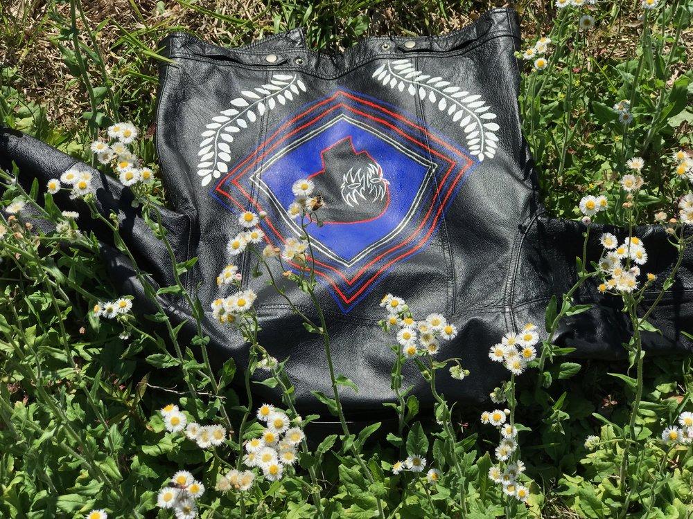 Paint on vintage leather jacket, 2017.