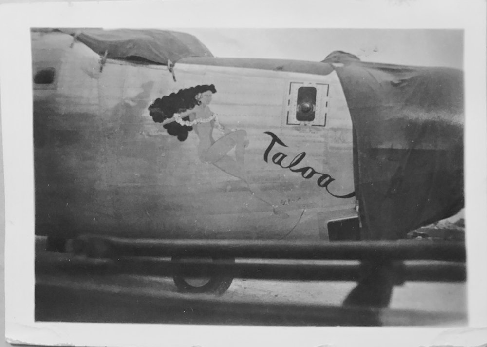 The nose art of the  Taloa . She is said to be named after a pilot's girlfriend in Panama. She completed 444 combat missions.