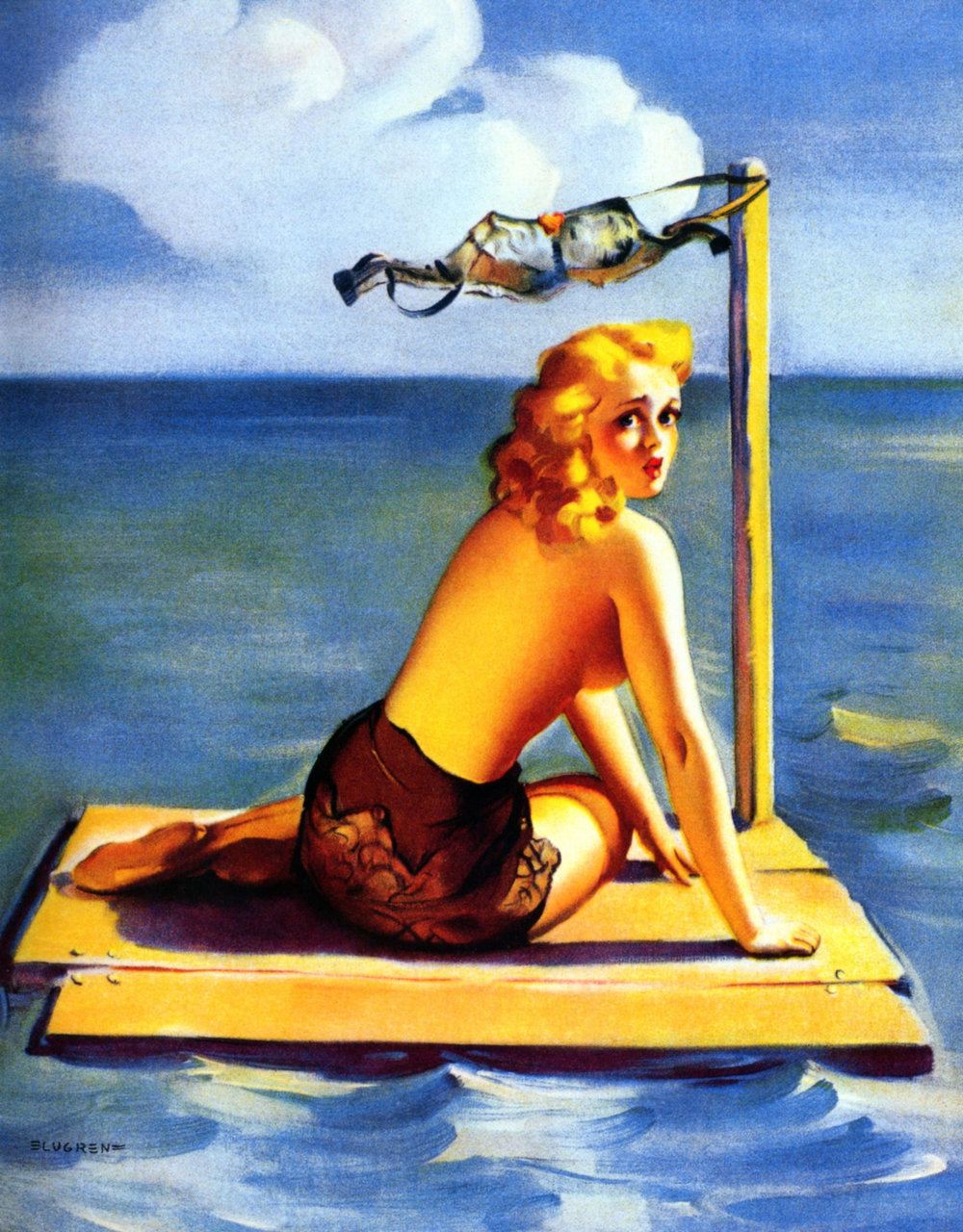 Short on Sails  was painted by Gil Elvgren and was the inspiration for the  Lonesome Lady  insignia.