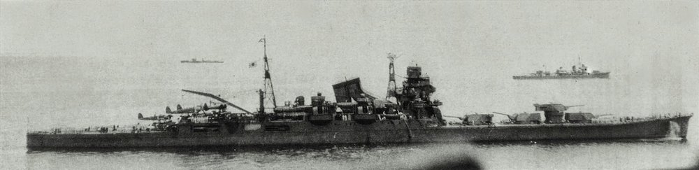 The Heavy Cruiser   Tone ,  was the target of Raymond Porter and Normand Brissette on 28 July, 1945. H. Paul Brehm recognized  Tone  as the only Japanese vessel with four gun turrets forward.