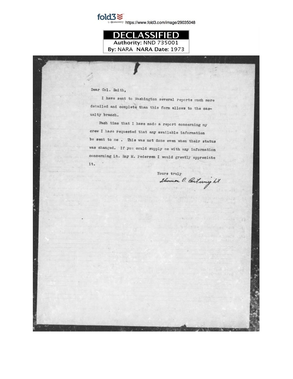 Cartwright correspondence to the War Department in search of the fate of his men.