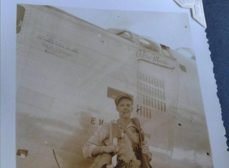 A proud member of the flight crew (co-pilot Johnson?), posing beneath the artfully depicted missions completed by the  Lonesome Lady . The bombs painted on her port side indicate 35 completed combat missions. She would not return from the 36th. Photo courtesy of L. Cadiz.