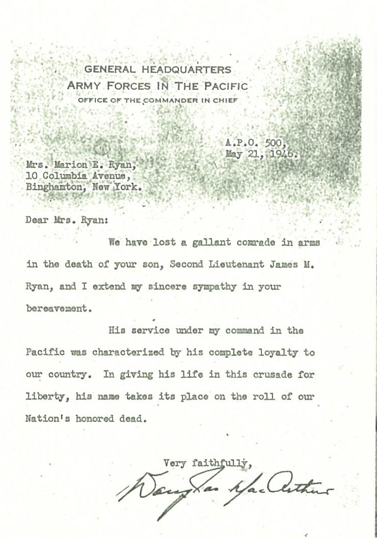 The letter of condolence from General McArthur, which reached only the Ryan's among the six crew members of the  Lonesome Lady  whose death was caused by the A-bomb. (Courtesy of Francis Ryan, T. Cartwright.)