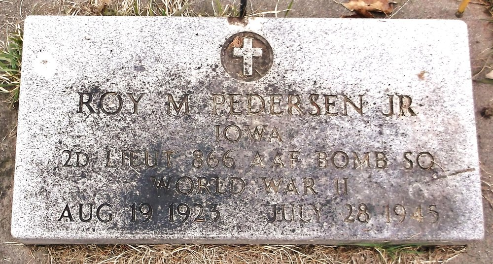 Pedersen's remains were returned to his family in 1949 and  interred at the Atlantic Cemetery, Atlantic, Cass County,  Iowa.