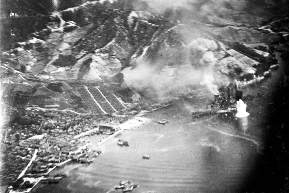 Bombing of  Haruna  on 28 July, 1945, photographed by a plane from the  USS   Wasp .