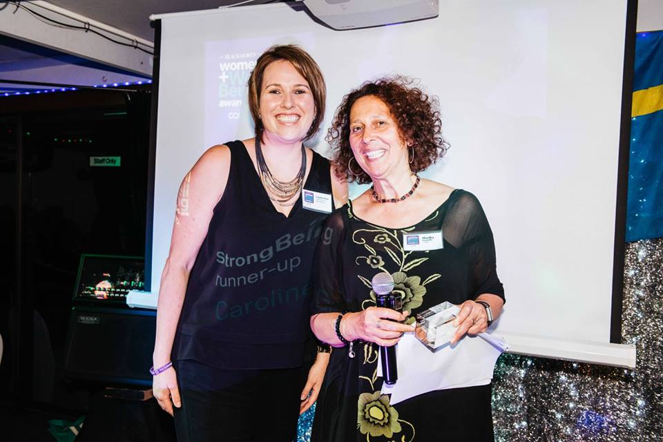 "Caroline receiving the Blackmores Mercie Wheelman Women +Wellbeing ""Runner Up"" Award for ""Strong Being category"", International Women's Day 2018"
