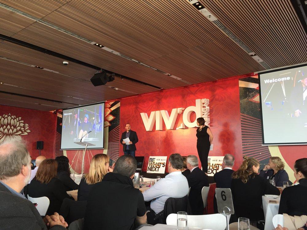 Tim and Caroline facilitating 100+ attendee workshop at Vivid Ideas Sydney