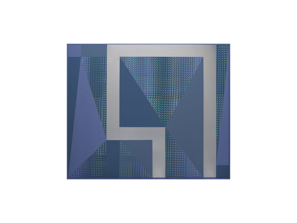 "Will Cooke   ""Triangle of Love""2016, primer, spray paint on aluminium panel, painted frame, 100 x 120cm  ARTIST BIO"