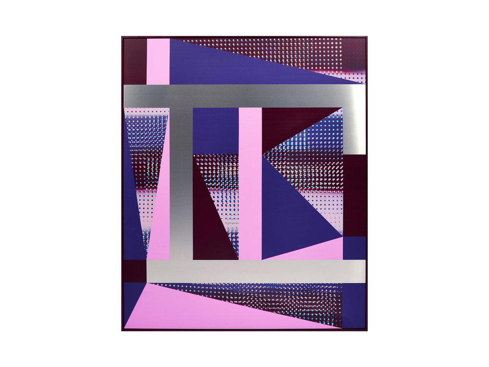 """Will Cooke   """"It's Here, It's There, It's Everywhere"""", 2016, primer, spray paint on aluminium panel, painted frame, 120 x 100cm  ARTIST BIO"""
