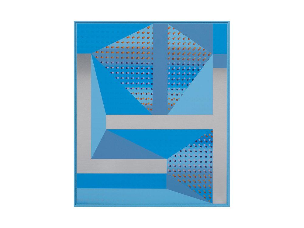 "Will Cooke   ""Italo Paradiso"", 2016, primer, spray paint on aluminium panel, painted frame, 120 x 100cm   ARTIST BIO"