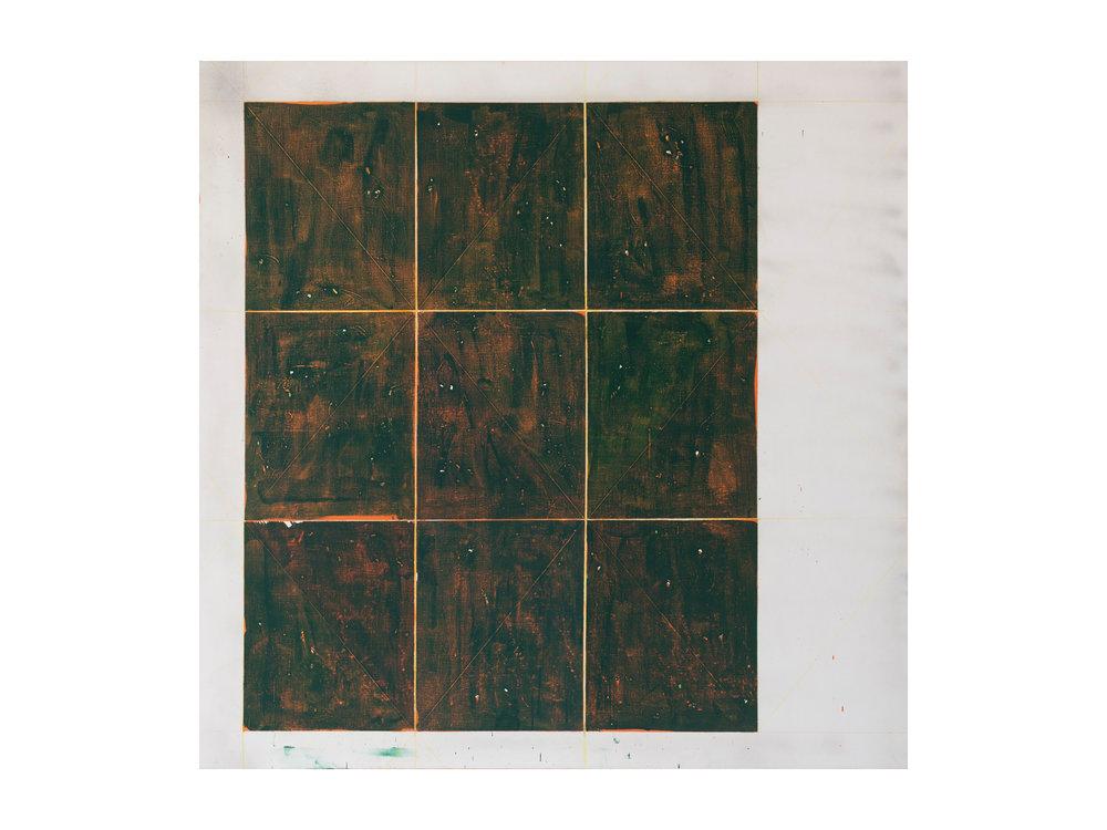 "Tom Vincent   ""Isotropic Vector Matrix 3 x 3"", 2016, acrylic, selenite, aerosol and coloured pencil on linen, 152 x 152cm  ARTIST BIO"