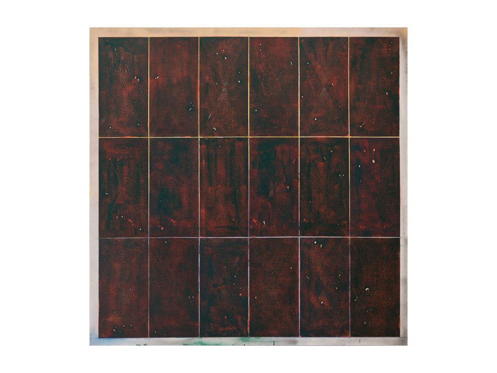 "Tom Vincent    ""Isotropic Vector Matrix 6 x 3"", 2016, acrylic, selenite, aerosol and coloured pencil on linen, 152 x 152cm    ARTIST BIO"