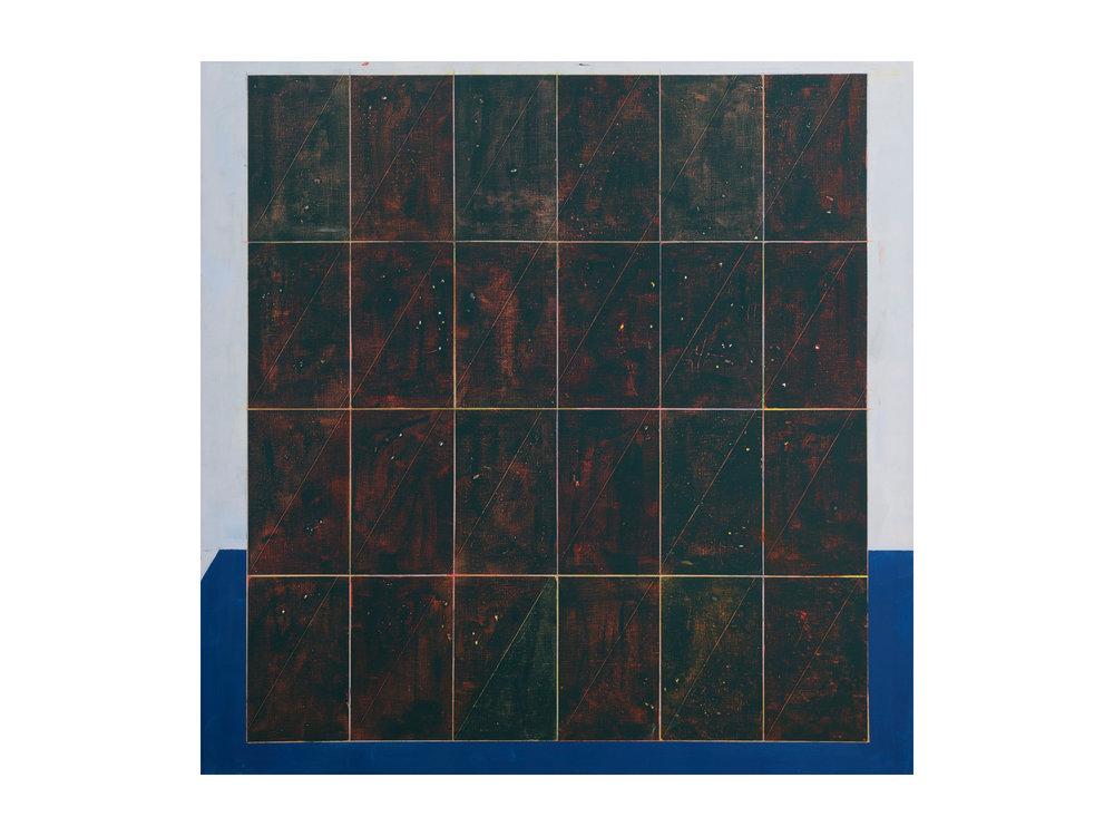 "Tom Vincent   ""Isotropic Vector Matrix 6 x 4"", 2016, acrylic, selenite and coloured pencil on linen, 152 x 152cm  ARTIST BIO"