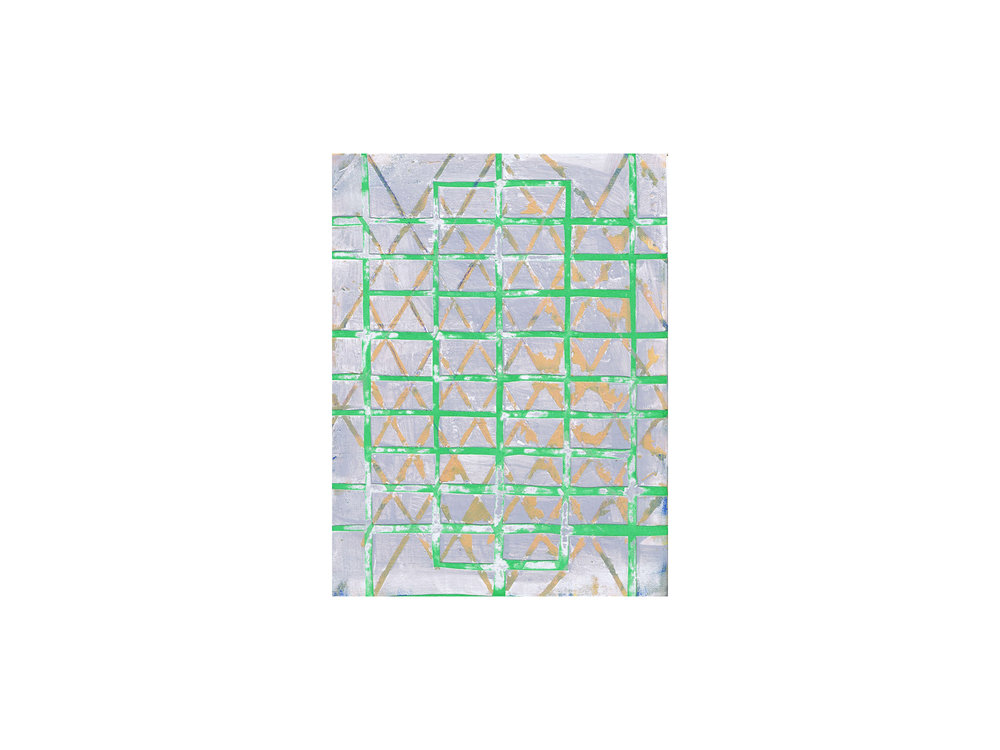 "Tom Vincent   ""Sixty-Four Grid"", 2016, acrylic, selenite, paper and erosol on board, 30 x 23cm   ARTIST BIO"