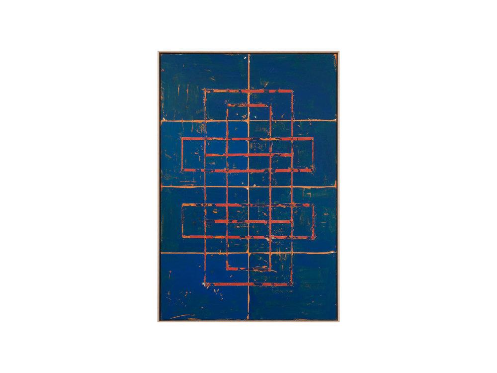"Tom Vincent    ""Antenna Grid"", 2016, acrylic, selenite, paper and aerosol on board, 90 x 60cm   ARTIST BIO"