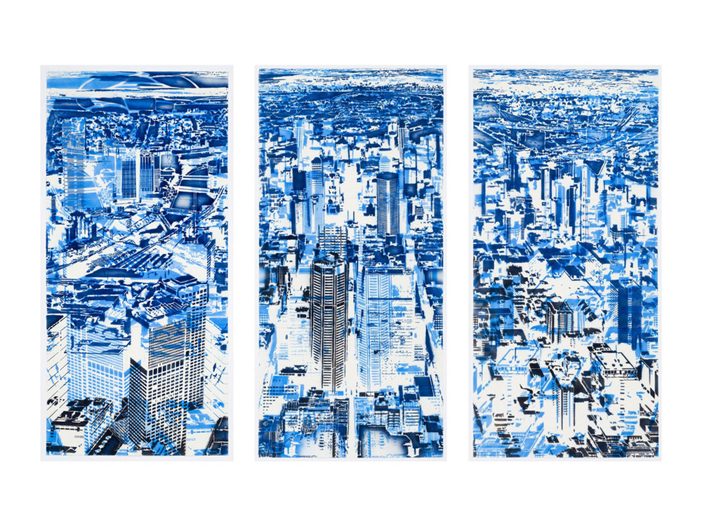"Louise Forthun   ""Blue Haze (1, 2 & 3)"", 2016, synthetic polymer on paper, 220 x 104cm each   ARTIST BIO"