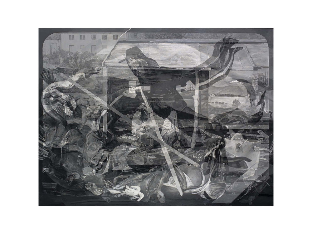 "Julie Fragar    ""Antonio Departs Flores (for always and ever)"", 2016, oil on board, 120 x 160cm   ARTIST BIO"