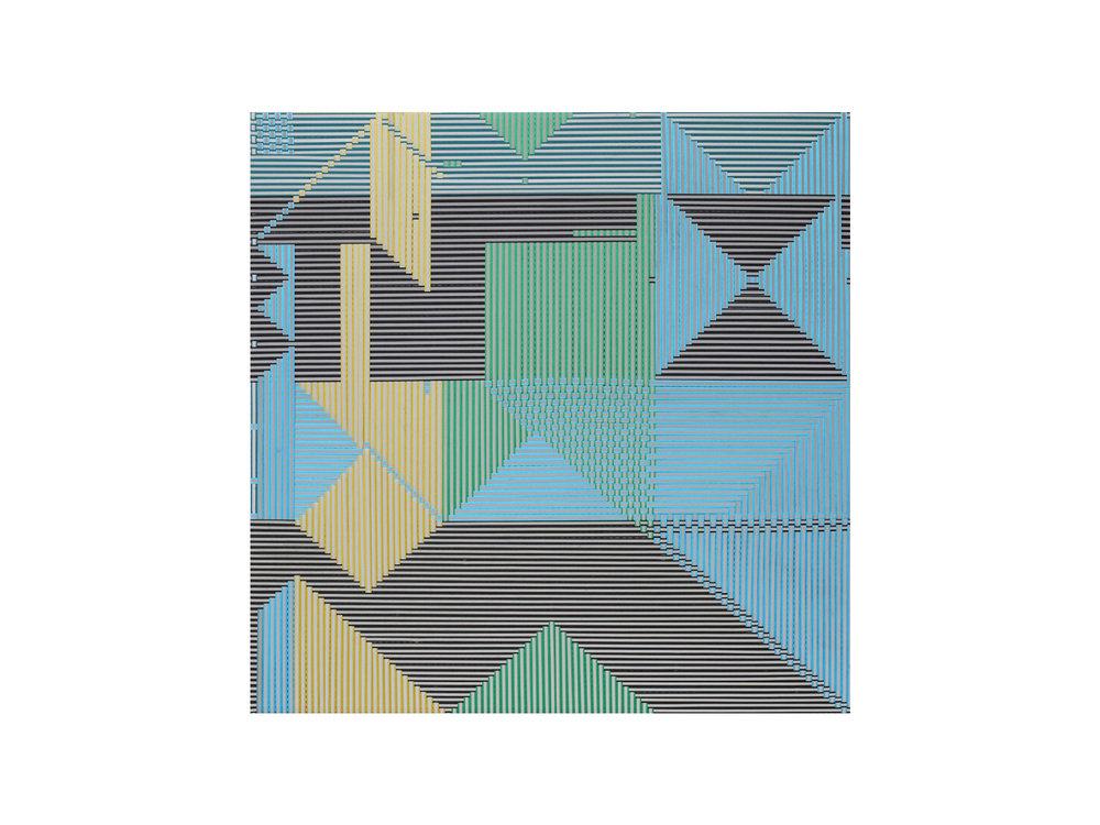 "Dandan Dai   ""Braid 33"", 2015, ribbon, 100 x 100cm   ARTIST BIO"