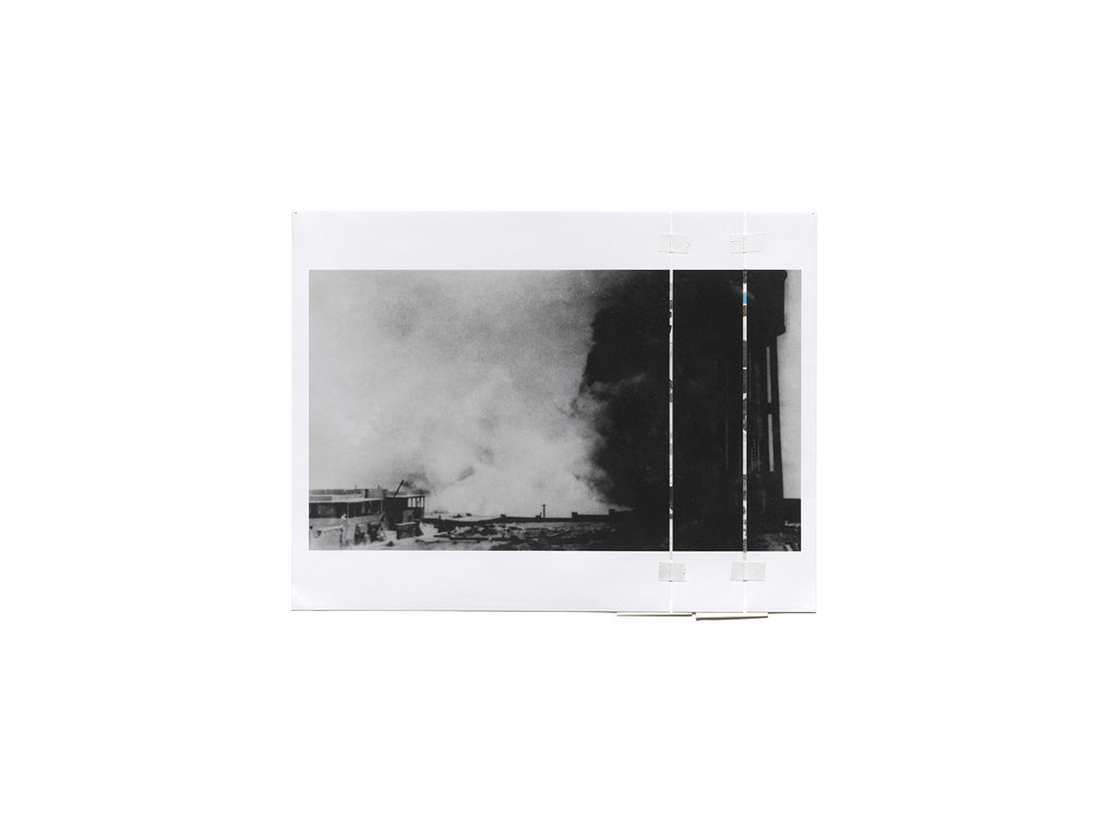 Denise Green   Bombardment of the Wharf at Piraeus (Variant) , 2016 one photograph and two drawings 60.5 x 74cm   ARTIST BIO