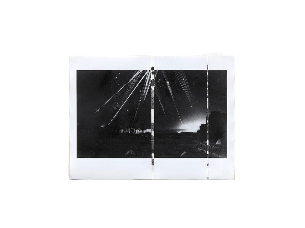 "Denise Green   ""RJG: Air raid Alexandria 1 (Variant)"", 2016, one photograph and two drawings, 43 x 56.5cm   ARTIST BIO"