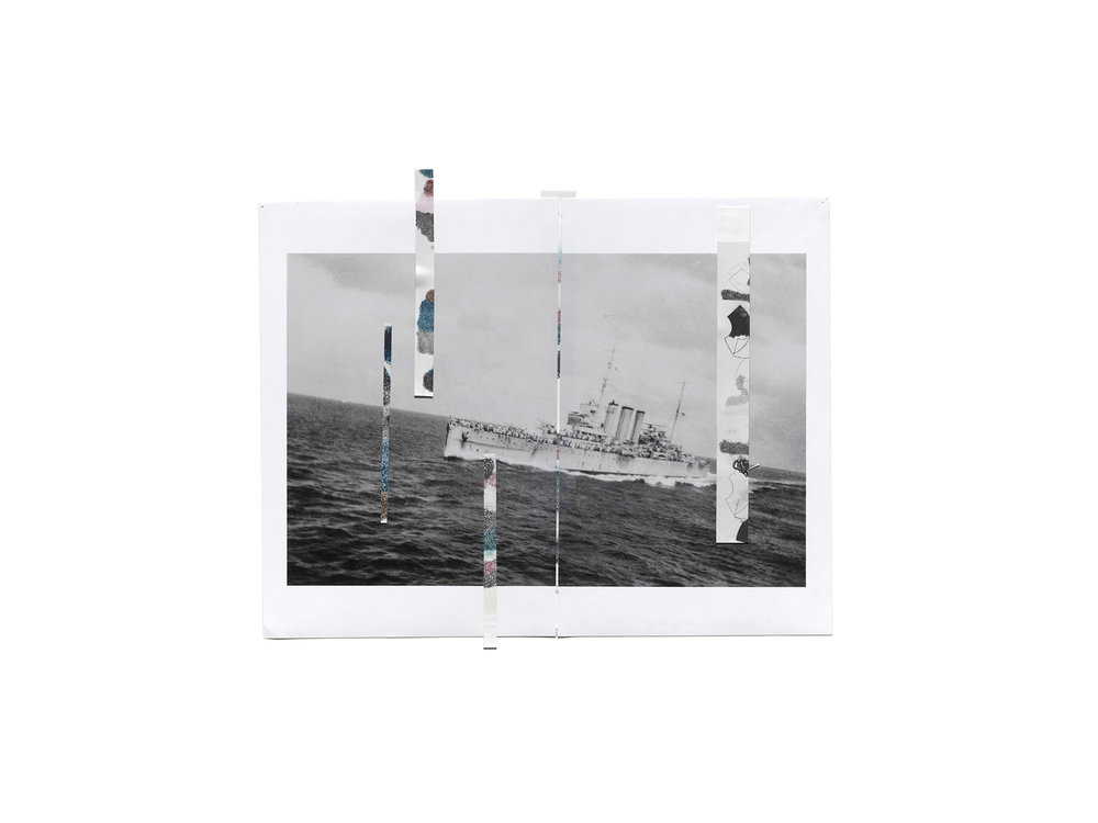 """Denise Green   """"RJG: HMS Canberra Leaving the Convoy"""", 2016, one photograph and five drawings, 47 x 56.5cm   ARTIST BIO"""