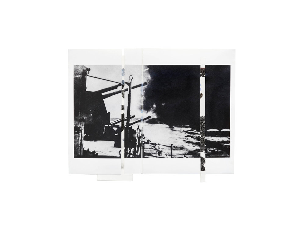 """Denise Green   """"RJG: HMS Liverpool in Action 1 (Variant)"""", 2017, one photograph and three drawings, 46 x 57cm   ARTIST BIO"""