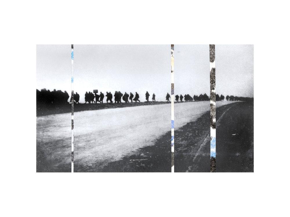 "Denise Green   ""RJG: Italian P.O.W. Long Long Trail"", 2016, one photograph and three drawings, 106 x 66.5cm   ARTIST BIO"